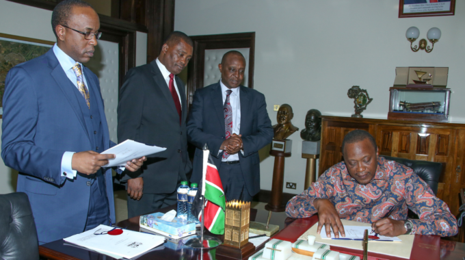 President Kenyatta Sign Security Bills Into Law